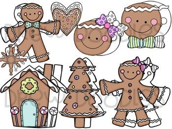 Gingerbread Cuties Digital Clip Art Set- Color and Black Line COMBO