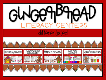 Gingerbread Differentiated Math and Literacy Centers BUNDLE