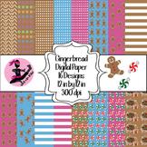 Gingerbread Digital Paper- 16 Designs- 12 by 12- 300 dpi