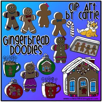 Gingerbread Doodles (BW and full-color PNG images)