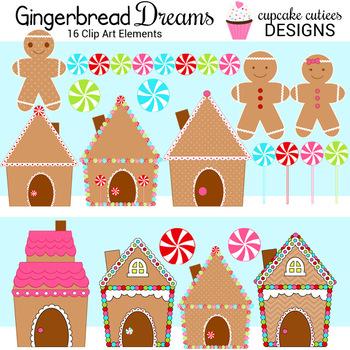 Gingerbread Dreams Digital Clip Art Elements