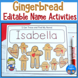 Gingerbread Editable Name Activities
