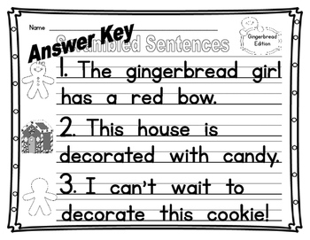 Gingerbread Scrambled Sentences