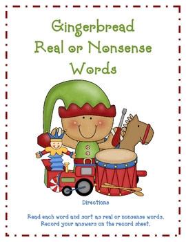 Gingerbread Elves Real and Nonsense Words