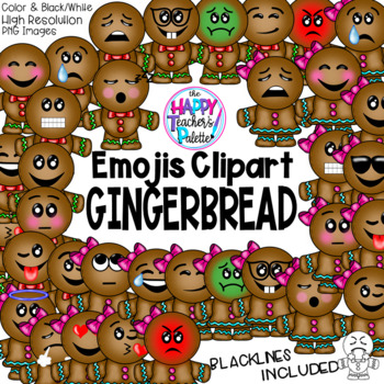 HTP Clip Art Gingerbread Emojis {The Happy Teacher's Palette}
