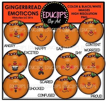 Gingerbread Emoticons Clip Art Bundle  {Educlips Clipart}