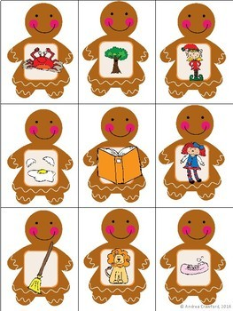 Ending Sounds Match Game:  Gingerbread Theme