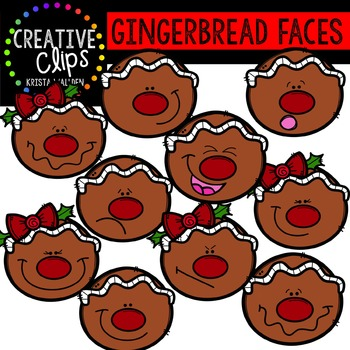 Gingerbread Clipart: Faces {Creative Clips Clipart}