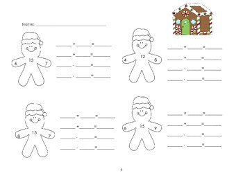 Gingerbread Fact Families Addition and Subtraction