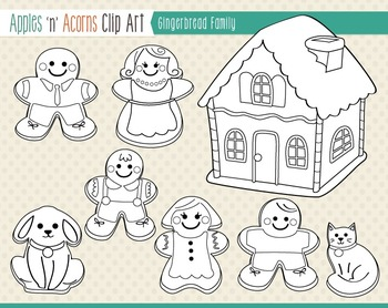 Gingerbread Family Clip Art - color and outlines