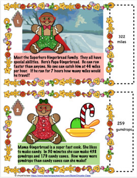Gingerbread Family Math Word Problem Task Card Games and Activities for 4th