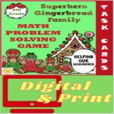 Superhero Gingerbread Family Math Word Problem Task Card Games for 4th