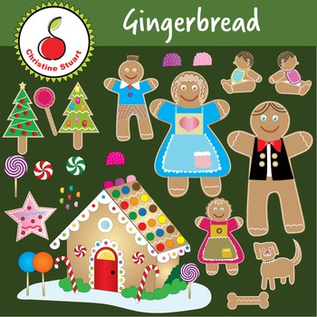 Gingerbread Family clipart bundle