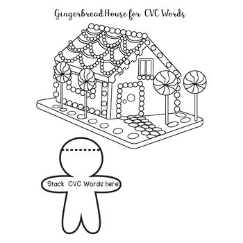 Gingerbread Phonics Reading Flip Book CVC CVCE Worksheet Packet No Prep