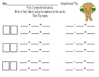 Gingerbread Flip Fact Family Math Center