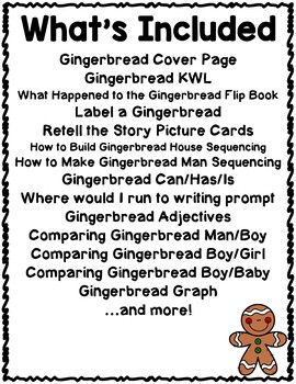 Gingerbread Activities Interactive Notebook Lapbook