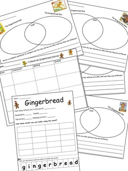 Gingerbread Fred and Gingerbread Sally Reading Writing and Math Fun