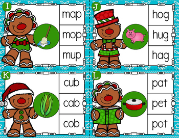 Gingerbread Friends CVC Clip Cards Christmas Literacy Center