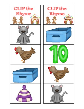 Gingerbread Friends Clip the Rhyming Word Activity