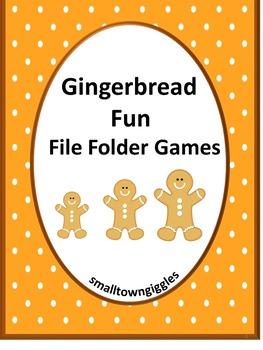 Gingerbread Math & Literacy File Folder Games Christmas Ce
