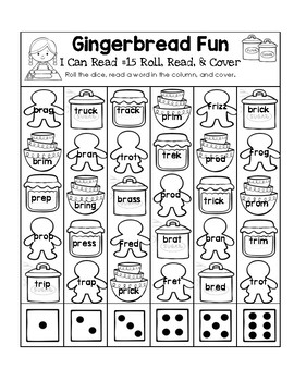 Gingerbread Fun - I Can Read It! Roll, Read, and Cover (Lesson 15)