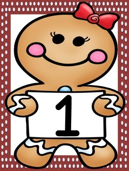 Gingerbread Girl Full Page Number Posters 0-100