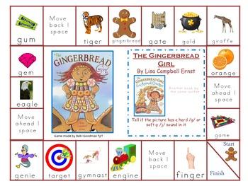 Gingerbread Girl --Hard G  and Soft G game baord