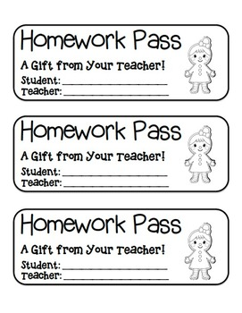 """Gingerbread Girl"" Homework Pass –Holiday FUN! (black line version)"