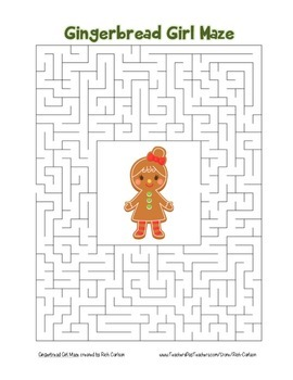 """Gingerbread Girl"" Maze! Holiday FUN! (Color and Black Line)"