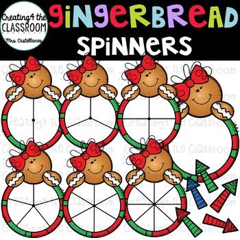 Gingerbread Girl Spinners Clip Art Bundle {Christmas Clip Art}
