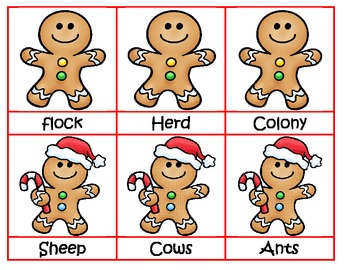 #Decemberdeals Gingerbread Grouping - Matching Collective Nouns
