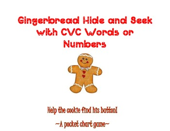 Gingerbread Hide & Seek With CVC Words or Numbers~ Two Pocket Chart  Games