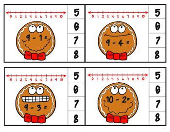 Gingerbread Man Subtraction Number Line Clip Cards