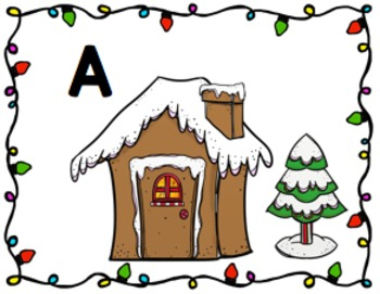 Gingerbread House Alphabet Match Task Cards