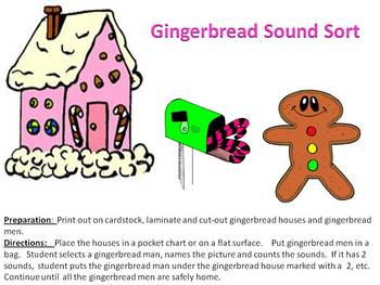 Gingerbread House Christmas Sound Sort - Segmenting Sounds in words