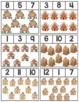 Gingerbread House Clip Cards | Numbers 1-12