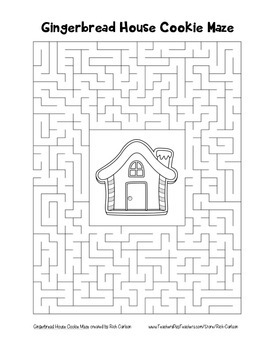 """""""Gingerbread House Cookie"""" Maze! Holiday FUN! (Color and Black Line)"""