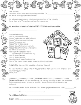 Gingerbread House Day: Letter to Parents!