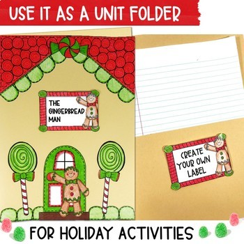 Gingerbread House Folder & Journal Cover Craft with EDITABLE Labels
