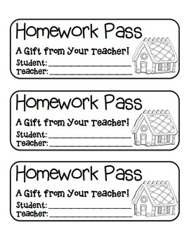 """Gingerbread House"" Homework Pass –Holiday FUN! (black line version)"