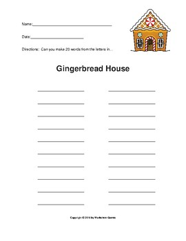 Gingerbread House - How Many Words Can You Make?