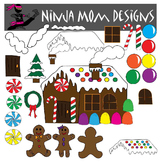 Gingerbread House Kit Clip Art in Color and Black Line