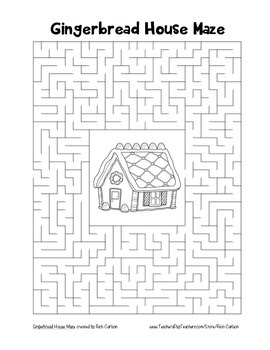 """Gingerbread House"" Maze! Holiday FUN! (Color and Black Line)"