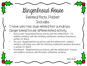 Gingerbread House Related Facts Packet differentiated