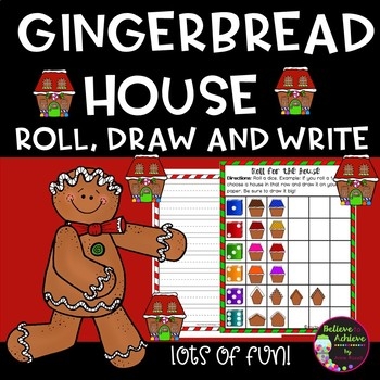 Gingerbread House- Roll, Draw, Write Activity