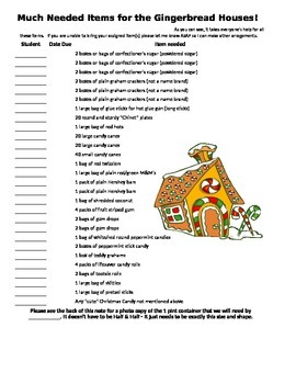 Gingerbread House Supply List