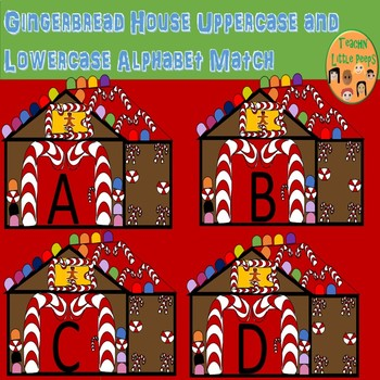 Gingerbread House Uppercase and Lowercase Alphabet Match
