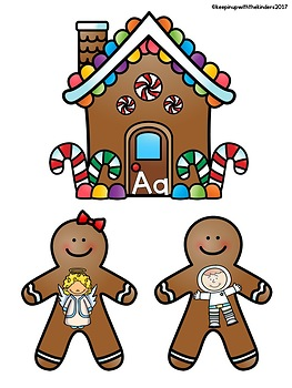 Gingerbread House and Gingerbread Cookie Beginning Sounds Match