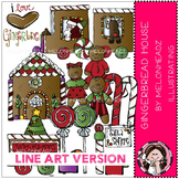 Gingerbread House clip art - LINE ART - by Melonheadz