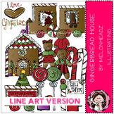 Gingerbread House clip art - LINE ART - by Melonheadz